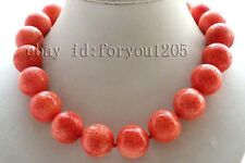 "18"" Genuine Natural 20mm Pink Round Coral Necklace #f2601!"