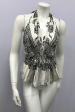 ROBERTO CAVALLI 100% SILK HALTER TOP SIGNED BLACK GOLD GREY OFF WHITE 44 XS S