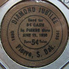 1955 Pierre, SD 75th Anniversary 5c Wooden Nickel Token - South Dakota