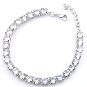 Classical 5MM Round Natural White Topaz Platinum Plated Silver Tennis Bracelets