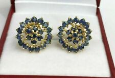 1.50 Ct Round Cut Blue Sapphire Cluster Stud Earrings In 14k Yellow Gold Over