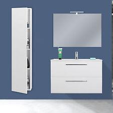 Mobile bagno moderno sospeso 80 cm bianco con colonna design specchio slim nuovo