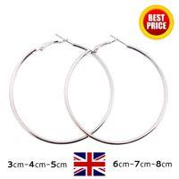 Loop Hoop Earrings Hula Silver Circle Large Thin Round Stainless Steel - 6 Sizes