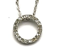 Sterling Silver 925 Channel Set Round CZ Circle Elegant Collar Chain Necklace