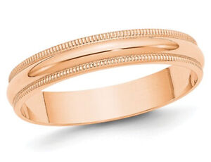 Ladies 10K Rose Pink Gold 4mm Milgrain Wedding Band
