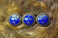 alte Schweden Brosche Silber drei Kronen auf blauem Emaille ATE edel & wertvoll