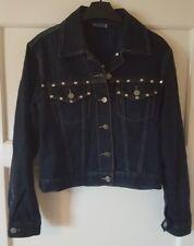 Femme Clouté Denim Veste en jean bleu taille UK 10