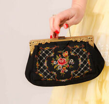 30s 40s vintage petit point black crepe embroidered needlepoint evening bag