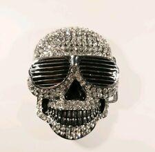 SKULL BELT BUCKLE, Diamonte, sunglasses, skeleton, rock n roll, Gothic, Metal