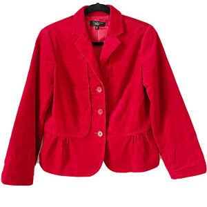 Talbots Womens Petite 8 Red Corduroy Peplum Ruffle Blazer Career Holiday