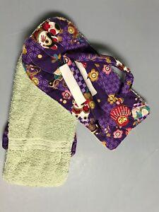 Hawaiian Footmop Foot Mop Towel Oriental neko flower purple Handmade