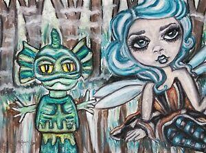 Swamp Faery Creature Original Pastel Painting 9x12 Gothic Fairy Art Artist KSams