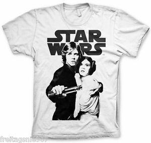 STAR WARS LUKE LEIA Vintage  T-Shirt  camiseta cotton officially licensed