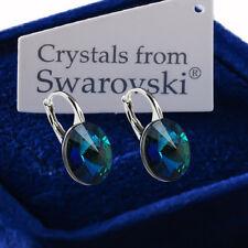 925 Sterling Silver Earrings BERMUDA BLUE Genuine 12mm Crystals from Swarovski®