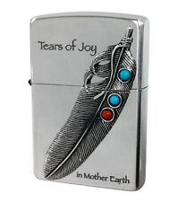 Zippo Eagle Feather Native Metal Turquoise Red Coral Oxidized Silver Japan F/S