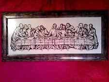 Ultima Cena di Gesù Cristo ricamo 110x51cm finito incorniciato Cross Stitch