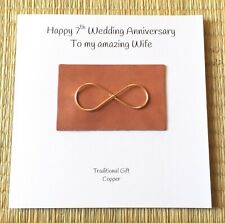 7th Wedding Anniversary Card Copper Anniversary Rose Gold Infinity