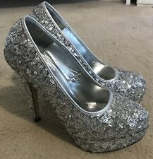 Spectacular Silver Sequin High Heeled Party Shoes UK 6 (Euro 39) Excellent Cond