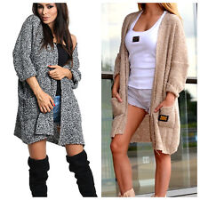 Damen Strickjacke Pullover Pulli Cardigan Oversize Wolle NEU 36 38 40  S M L