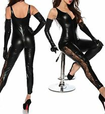 Latex (Faux) Look Black Catsuit / Jumpsuit 2 Way Crotch Zip Lace Panels Down Leg