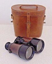 Vintage Antique WW1 British Army Field Binoculars Officers & Case Crows Foot