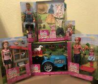 Lot of 7 Barbie SWEET ORCHARD FARM Tractor, Barbie, Ken, Chelsea, Farmer Outfits