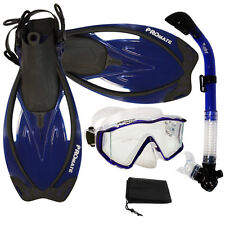 Panoramic Tri-view Silicone Mask Dry Snorkel Fins Flipper Snorkeling Gear Set