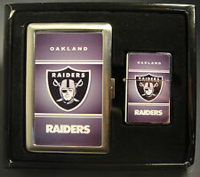 OAKLAND RAIDERS CLASSIC LOGO CIGARETTE CASE / WALLET AND LIGHTER GIFT SET