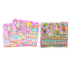 1Sheet Colorful Kid Crystal Stick Earring Sticker Kids Jewellery Party Toy GiftW