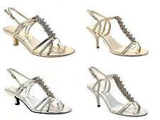 Zapatos para mujer Diamante Boda Nupcial Sandalias de tacón bajo zapatos señoras de cristal T Bar