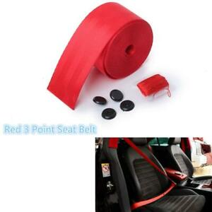 Red 380cm Harness 3 Point Auto Car Racing Front Safety Retractable Lap Seat Belt
