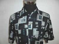 vintage LE FROG Viskose Hemd crazy pattern 80er oldschool 80s shirt M (L)