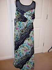 STUNNING GEORGE MULTI FLORAL NET MAXI DRESS SIZE UK 16  EXC CONDITION