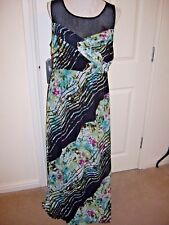 STUNNING GEORGE MULTI FLORAL NET MAXI DRESS SIZE UK 16 TALL GREAT CONDITION