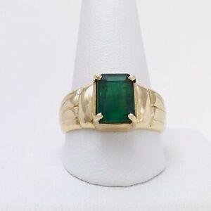 14k Gold 2ct Emerald Cut Genuine May Birthstone Mens Ring Unisex sz12