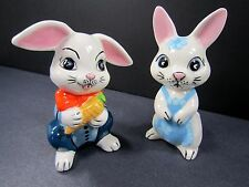 """Vintage 80s Bunny Rabbit Figurines Easter 4"""" Handmade USA Hand Painted Lot of 2"""