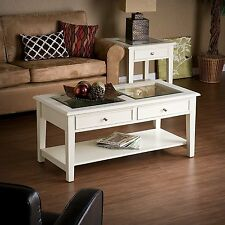 Southern Enterprises Panorama Cocktail Table with Two Drawers In Offwhite CK1130
