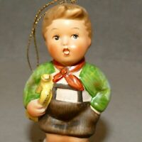 Christmas Ornament Porcelain SCHMID HUMMEL Boy 1st EDITION Trumpet USA SELLER