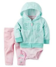 Carter's 3-Pc. Cute Hoodie, Bodysuit & Leggings Set, Baby Girls Size 18m New