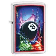 Zippo 29295 Mazzi 8 Ball Splash Brushed Chrome Finish Full Size Lighter