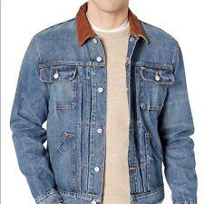 Frye Denim Trucker Jacket Real Leather Collar Men's Medium NEW