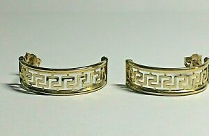 9 CT YELLOW GOLD GREEK KEY HALF LOOP LADIES EARRINGS, POST & BUTTERFLY, 1.75,GMS