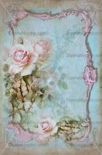 Furniture Decal Vintage Image Transfer Aqua Rose Upcycle Shabby Chic Antique DIY