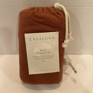 """NEW Casaluna Jersey Solid King Pillowcase Set Bronze Brown 20"""" x 40"""""""