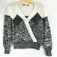 Charlotte Vanhorne Vintage 70's 80's Black White Silver Sweater Size Small