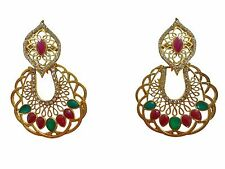 Bollywood Indian Ethnic Gold Plated Wedding Fashion Jewelry Dangle Earrings