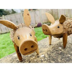 My Family House Pig Statue in Brown - Bamboo Root - Hand Carved