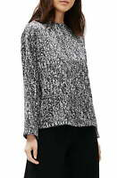 Eileen Fisher Womens Blouse Black Size XS Funnel Neck Boxy Printed $198 183