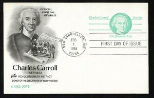 #UX105  (14c) Charles Carroll -Domestic Rate Postal Card - ArtCraft FDC