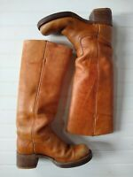 Frye Vintage Nearly Knee-High Tall Boots Women's 6B Tan Leather DISTRESSED